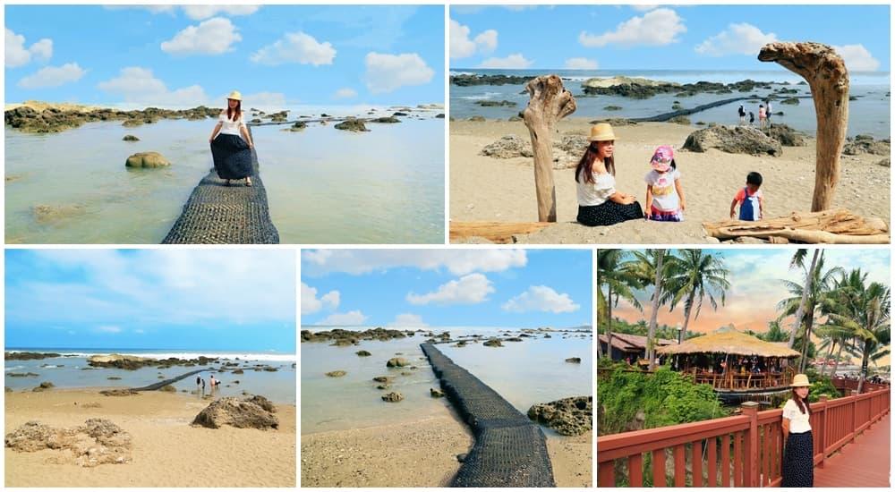 台東景點》富山護漁區,小蘇美島餵魚趣,唯美海上步道邁向藍天