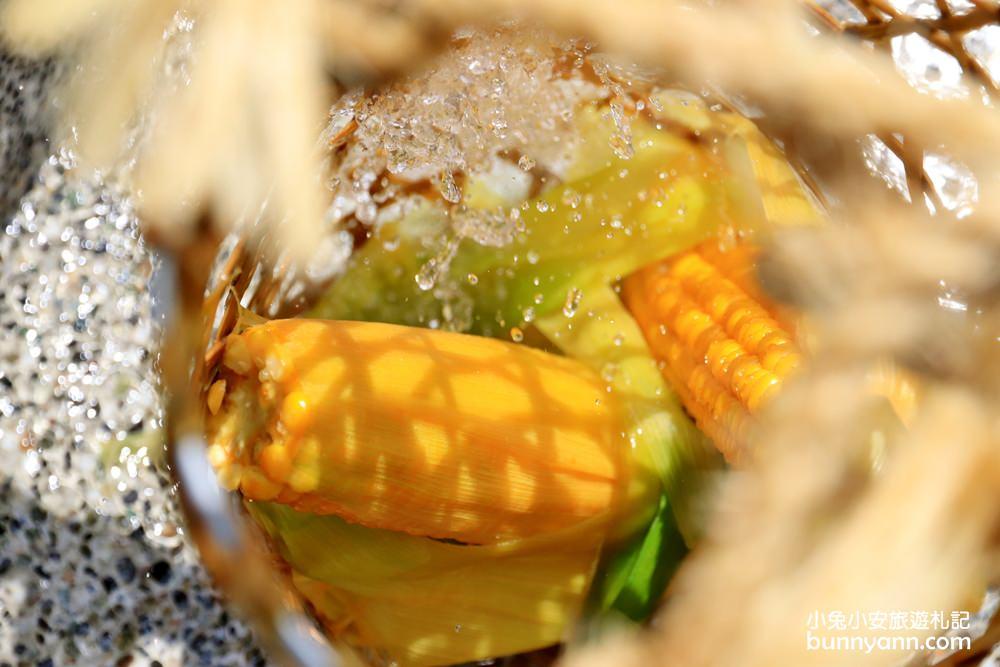 宜蘭新景點》鳩之澤溫泉,提竹簍地熱溫泉煮蛋、煮玉米趣,溫泉區野餐好開心~