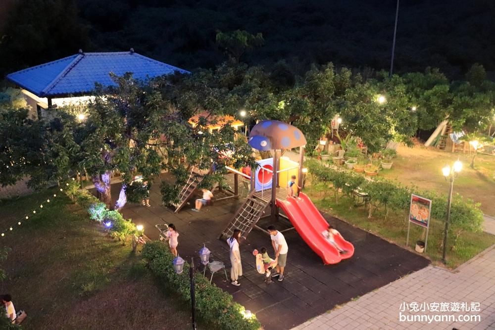 彰化景點》月亮太美!彰化銀河鐵道望景餐廳,浪漫星空帳篷、親子溜滑梯,百萬夜景餐廳~