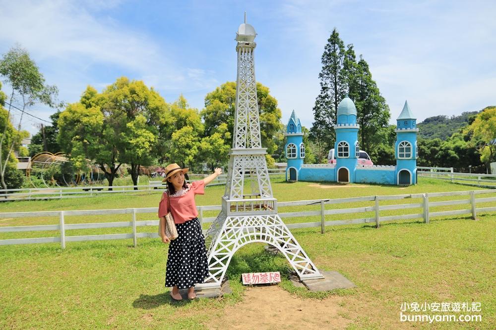 桃園景點》可愛角色登場!富田花園農場呆萌羊駝,草地城堡、水上教堂一次拍個夠!