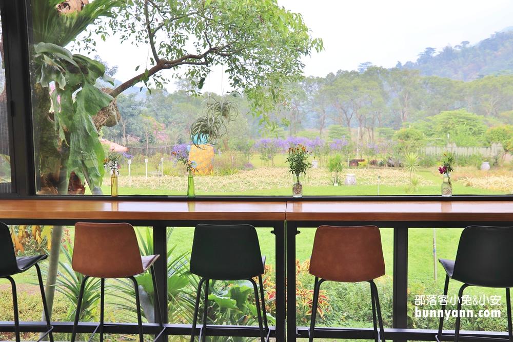 屏東》新景點!銘泉生態休閒農場深海大鳳梨,紫色隧道、鳳梨田,玻璃咖啡屋下午茶好Chill