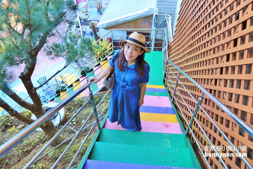 台中》戶外賞景去!流星花園景觀餐廳民宿,眺望公老坪山嵐,三層樓溜滑梯好好玩