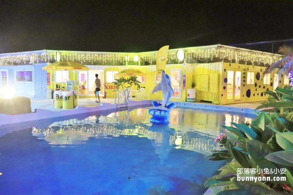小琉球拉美方普拉斯園區,夜間免費玩水,貨櫃市集美食吃起來